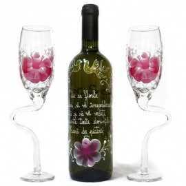 Set de vin cu model Floral