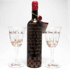 Set vin pictat Happy Birthday