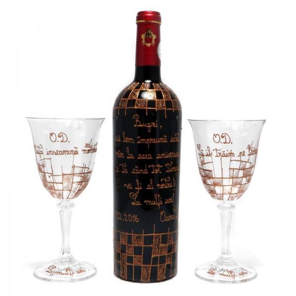 Set vin nobil si pahare cristal