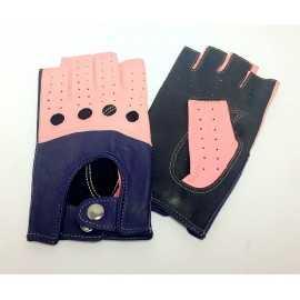 Manusi de piele roz-mov-negru
