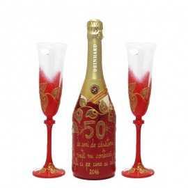 Set sticla sampanie si pahare cu mesaj personalizat