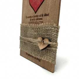 Invitatie rustica gravata pe lemn
