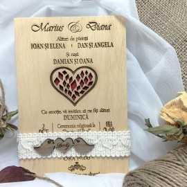 Invitatie gravata pe lemn Red Heart