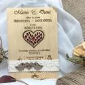 Invitatie de nunta gravata pe lemn
