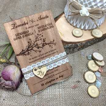 Invitatie originala de lemn Love Birds