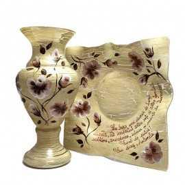 Cadou vintage set vaza si platou