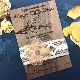 Invitatie de nunta gravata pe lemn de nuc