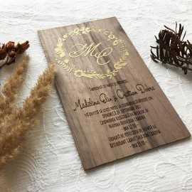 Invitatie de lemn Gold Embrace