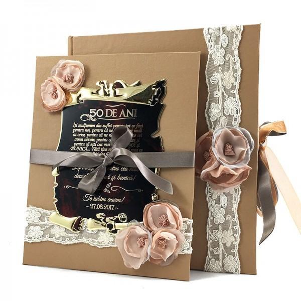 Placheta handmade cu mesaj in cutie piele