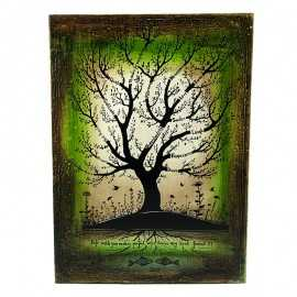 Copacul cunoasterii pictat manual pe lemn