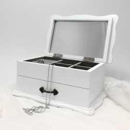 Cutie de bijuterii lemn alb cu mesaj