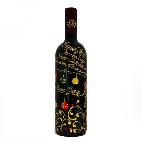 Sticla de vin Craciun in familie