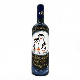 Sticla vin pictata cadou pentru fini