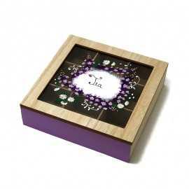 Cutie lemn pentru ceai pictata manual cu mesaj
