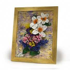 Tablou cu aranjament floral si pietre semipretioase