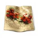 Platou personalizat cu mesaj si flori de mac