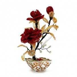 Trandafiri handmade cu pietre semipretioase