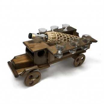 Camion din lemn cu sticla pentru tarie