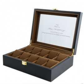 Cutie lemn negru mat pentru 10 ceasuri