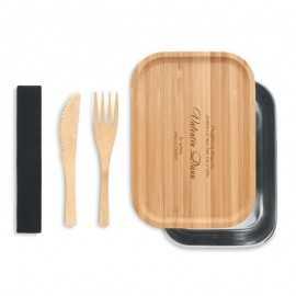 Cutie pranz personalizata cu capac din lemn