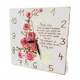 Ceas pictat Trandafiri cu mesaj pentru nasi