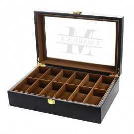 Cutie 12 ceasuri lemn negru personalizata